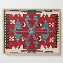 Blue Diamond Arrow Konya II // 19th Century Authentic Colorful Red Cowboy Accent Pattern Serving Tray