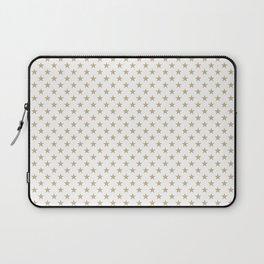 Gold Christmas Stars on Snow White Laptop Sleeve