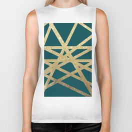 Modern turquoise green gold glitter foil ombre geometric stripes color block Biker Tank