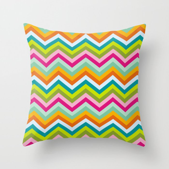 Bright neon chevron stripes Throw Pillow