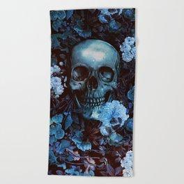 Skull and Flowers Beach Towel