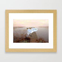 Great White Heron Landing Framed Art Print