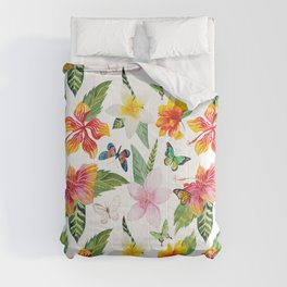 Summer tropical watercolor floral colorful butterfly Comforters