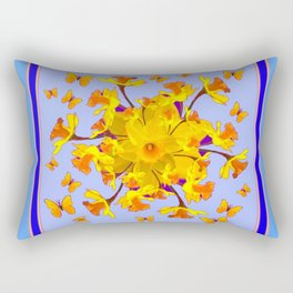 Blue Butterfly & yellow Daffodils Pattern Rectangular Pillow