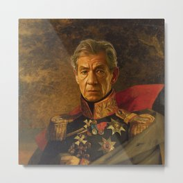 Sir Ian McKellen - replaceface Metal Print