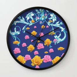 YELLOW  & PINK ROSES BLUE MODERN  ABSTRACT Wall Clock