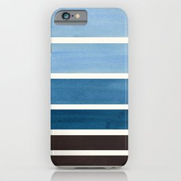 Green Blue Minimalist Watercolor Mid Century Staggered Stripes Rothko Color Block Geometric Art iPhone Case