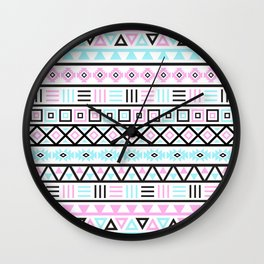 Aztec Influence Pattern Blue Black Pink White Wall Clock