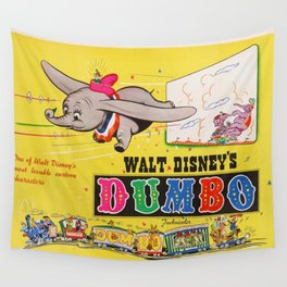 1941 Vintage Dumbo Film Movie Poster Wall Tapestry
