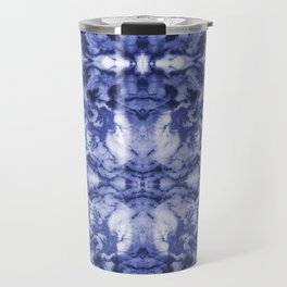 Asahi - spilled ink indigo blue water waves ocean topography map maps painting marble swirl blue Travel Mug