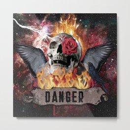 DANGER ROCK SKULL Metal Print