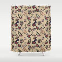English Bulldog Tattoo Shower Curtain