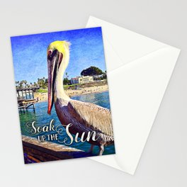 California beach pier pelican | Soak up the Sun Stationery Cards