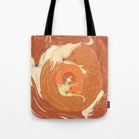 foxes Tote Bags featuring Foxes by Beesants