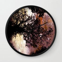 Black Trees Brown Beige Space Wall Clock