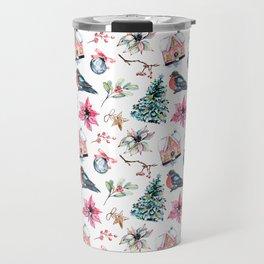 Christmas watercolor pattern. Travel Mug