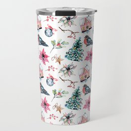 Christmas watercolor pattern. Travel Mug
