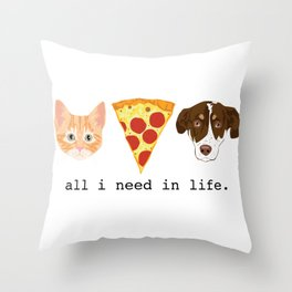The Pizza Pets Throw Pillow