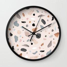 Terrazzo Stone Confetti blush Wall Clock