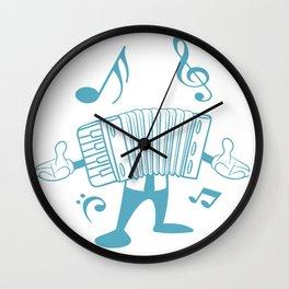 Accordion Man Melodeon Piano Accordion Notes Gift Wall Clock