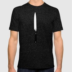 THE KNIFE Mens Fitted Tee Tri-Black LARGE