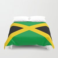 jamaica Duvet Covers featuring Flag of Jamaica by Neville Hawkins
