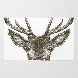 Deer Head Drawing Brown Rug