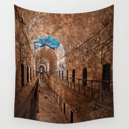 Prison Corridor - Sepia Blues Wall Tapestry