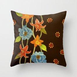Vintage Flowery Serpentine Throw Pillow