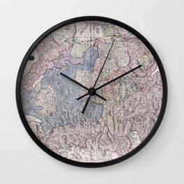 Vintage Map Print - Franz Johann Joseph von Reilly - Map of Switzerland (1796) Wall Clock