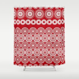 Cute Red Crochet Lace Flowers  Shower Curtain