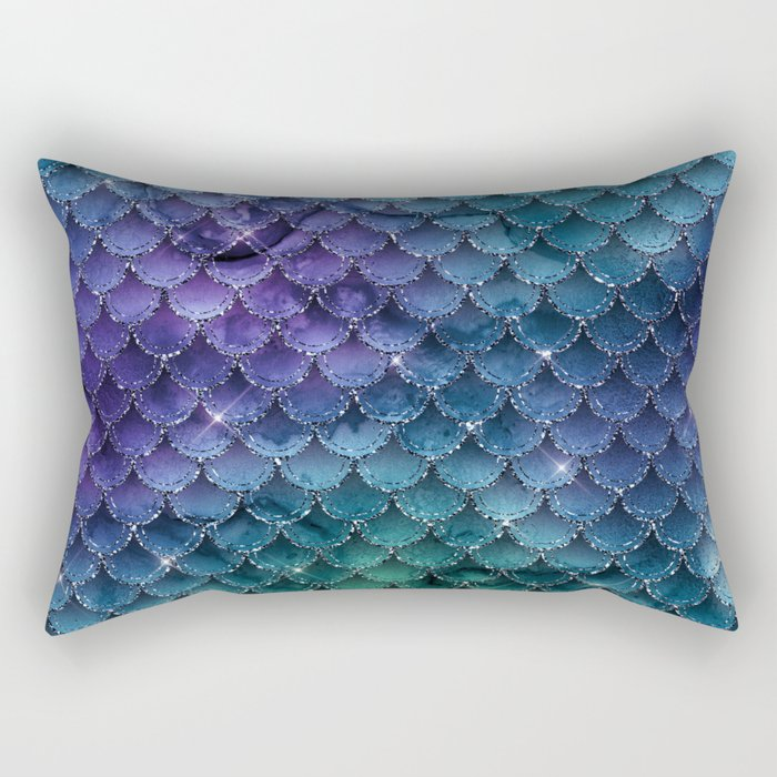 Mermaid Glitter Rectangular Pillow