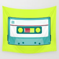 cassette Wall Tapestries featuring #54 Cassette by Brownjames Prints