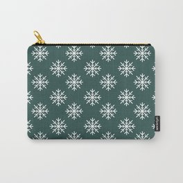Snowflakes (White & Dark Green Pattern) Carry-All Pouch