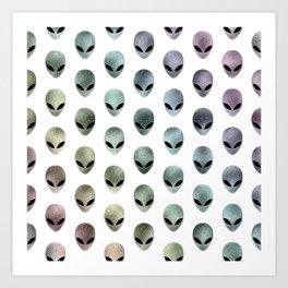 Grey Alien Rainbow (white background) Art Print