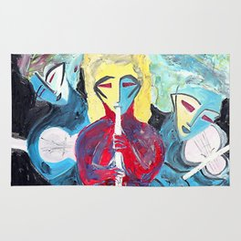 Three Blue Jazz Sisters    #society6 #decor #buyart Rug