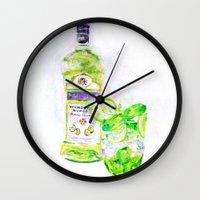 cocktail Wall Clocks featuring Cocktail by LiliyaChernaya