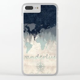 world map wanderlust forest 2 Clear iPhone Case