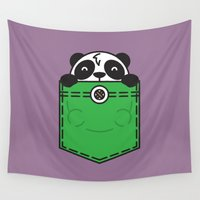 pocket Wall Tapestries featuring Pocket Panda by Steven Toang