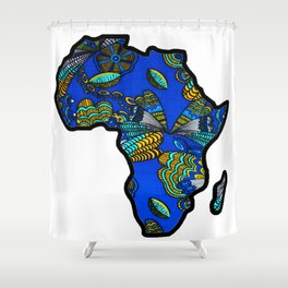 Blue Butterfly Africa Map Shower Curtain