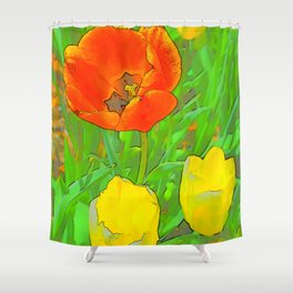 Etched Tulips 3 Shower Curtain