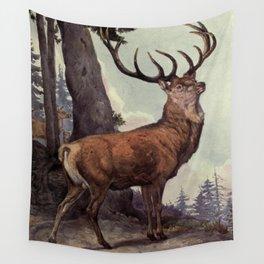 Vintage Red Deer Painting (1909) Wall Tapestry