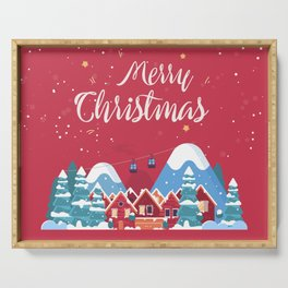 Merry Christmas Background With Winter holidays in the mountains concept banner. Serving Tray