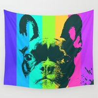 frenchie Wall Tapestries featuring Rainbow Frenchie by Ginger Pigg Art & Design