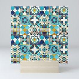 Spanish moroccan tiles inspiration // turquoise blue golden lines Mini Art Print