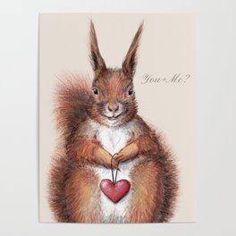 Squirrel heart love Poster