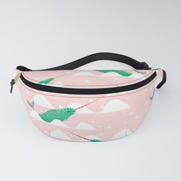 Sea unicorn - Narwhal green and pink Fanny Pack