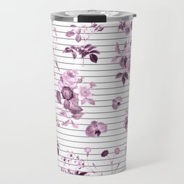 Purple Floral and Minimal Thin Black and White Stripes Travel Mug