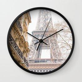 Paris Eiffel Tower in Snow Wall Clock