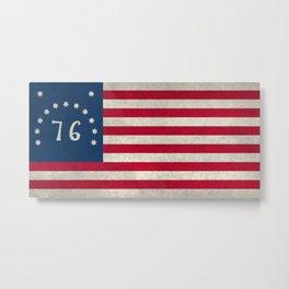 1776 Bennington flag - Vintage Stone Textured Metal Print